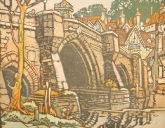 A. B. Higgs 1920's woodblock linocut engraving; Aylesford bridge